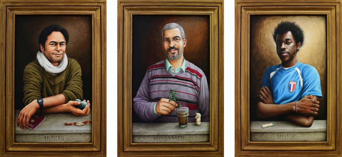 2016 - LES ENFANTS DU BON DIEU - acryliques sur bois & cadre, 58,5 x 40 cm