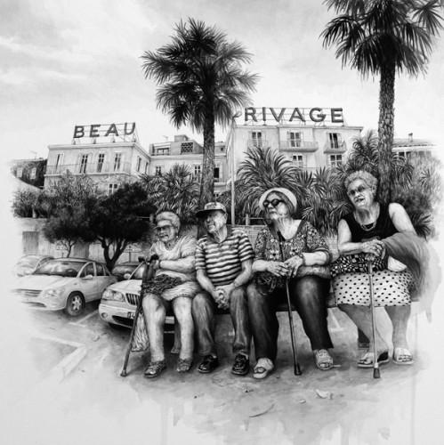 Beau Rivage, Bandol - 2015, acrylique sur papier, 55 x 55 cm