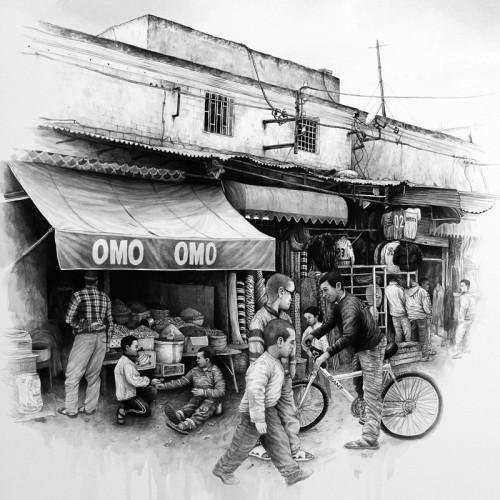 Omo Omo, Oujda - 2015, acrylique sur papier, 55 x 55 cm